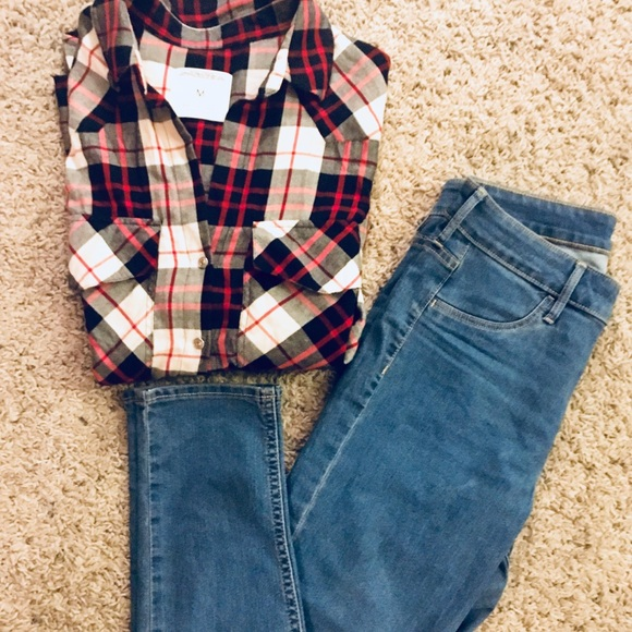 cbbc8d07 Zara Women's Soft Plaid Shirt with Skinny Jeans